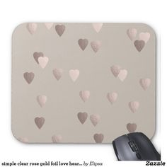 simple clear rose gold foil love hearts, neutral mouse pad