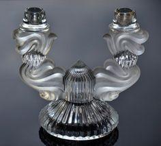 Splendid vintage Bohemian crystal glass candleholder
