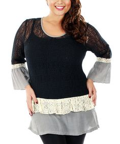 Look what I found on #zulily! Black & Gray Lace Tiered Tunic - Plus by Lily #zulilyfinds