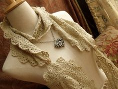 doilies upcycled into scarf
