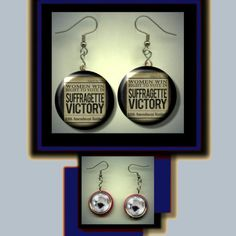 Suffragette Victory Womens Rights feminism history Dangle Earrings photo jewelry altered art by yesware11 on Etsy!