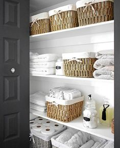 - Baskets and Boxes - ORGANIZED LINEN CLOSET: THE REVEAL Organized linen closet reveal! A fresh coat of paint, pretty baskets and major purging, it went from messy and cramped to spacious and airy! Home Organisation, Organizing Linens, Bathroom Organisation, Home Organization, Home, Linen Closet Storage, Closet Makeover, Linen Closet, Home Decor