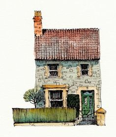 House commissions watercolor illustration, house illustration, watercolor a Watercolor Sketch, Watercolor Landscape, Watercolor Paintings, Watercolours, Watercolor Illustration, Building Illustration, House Illustration, Illustrations, Voyage Sketchbook