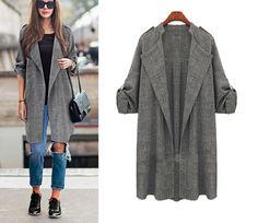 Stylish Ladies Women Career Party Long Sleeve Lapel Windbreaker Coat
