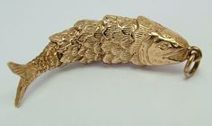 London 1972 - Large 1970's 9ct Gold Articulated Fish Charm