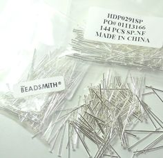 Buy 400 Head Pins X 1 Inch Silver Plating Over Brass Standard 21 Gauge Wire Beadsmith Headpins