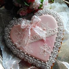 Snowflakes and lace, winter pink, by Teri Pringle Wood, posted on Cookie Connection Tea Cookies, Fancy Cookies, Valentine Cookies, Holiday Cookies, Cupcake Cookies, Cupcakes, Cookie Frosting, Royal Icing Cookies, Elegant Cookies