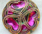 """LG Czech Glass Button - Hot Pink Mirror Back """"Triple Heart"""" Button w/ Gold Detail"""