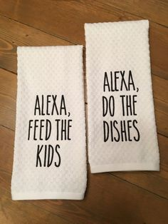 Pair of Funny Kitchen Towels Dish Towels Tea Towels Embroidered Alexa Do the Di. Pair of Funny Kitchen Towels Dish Towels Tea Towels Embroidered Alexa Do the Dishes and Alexa Feed Vintage Camper, Diy Vintage, Cute Kitchen, Funny Kitchen, Hand Towels, Tea Towels, Crochet Dish Towels, Embroidered Towels, Ideas