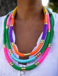 utility rope + plumbing hardware = diy rope necklaces!