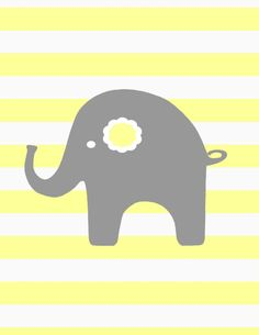 Yellow Grey  Nursery Elephant    8x10 baby elephant by kshoodesign, $18.00