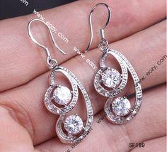 4x1.3cm 925 Sterling Silver Clear Crystal Rhinestone Earrings Eardrops Dangle