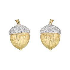 Verdura 18k Gold, Platinum & Diamond Acorn Earclips