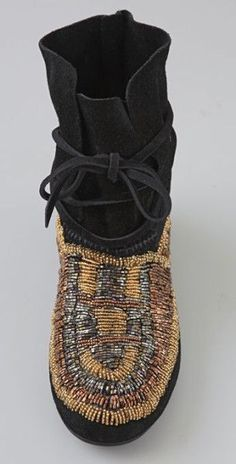House Of Harlow Beaded Moccasin Booties