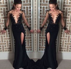 Simple Prom Dresses,Long Sleeves Formal Gown,Mermaid Evening Gowns,Black Party Dress,,Lace Prom Dress,Sexy Prom Dress