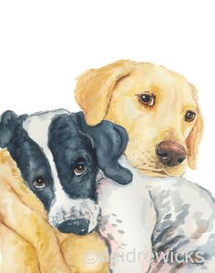 Golden Lab Watercolor - 8x10 PRINT, BFF, Hugging Dogs, Nursery Art, Cute Dogs, Dog Illustration
