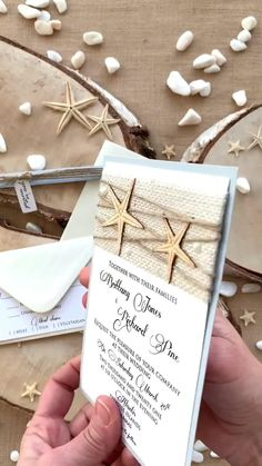 Beach Burlap Wedding Invitations inspired in the sea and Beach Weddings. The addition of the starfish on top turns this invitation simply stunning. Rustic Wedding Stationery, Beach Invitations, Beach Theme Wedding Invitations, Laser Cut Wedding Invitations, Printable Wedding Invitations, Wedding Reception Decorations, Invitation Design, Funny Wedding Photos, Wedding Paper