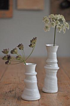White Wonky Ceramic Vase / Lg or Sm