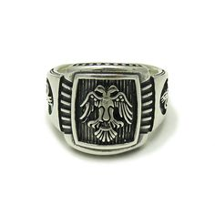 STERLING SILVER MEN RING SOLID 925 TWO HEAD EAGLE R001579 EMPRESS #Empress