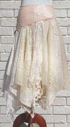 Tattered Lace Fairy Woodland Skirt, White and Cream, Hippie, Boho, Gypsy, Funky, Upcycled Clothing. $68.00, via Etsy.