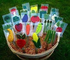 These glass vegetable garden markers are cute and functional, helping you remember what you planted. Each veggie is hand cut from colorful art glass, - Home Decoration Vegetable Garden Markers, Vegetable Garden Planner, Indoor Vegetable Gardening, Organic Gardening, Gardening Vegetables, Gardening Tools, Urban Gardening, Hydroponic Gardening, Gardening Supplies