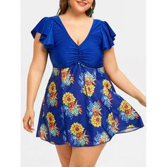 9cfab2597dd1 Plus Size Floral Flounce Skirted Swimdress