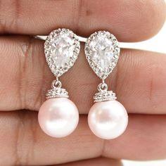 Blush Pink Wedding Pearl Earrings Crystal Pearl by poetryjewelry