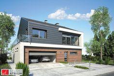 NEW HOUSE – ciekawy architektonicznie, nowoczesny budynek piętrowy z elegancką grafitową dachówka na dwuspadowym dachu i dwustanowiskowym garażem zgrabnie wpisującym się w obrys budynku.