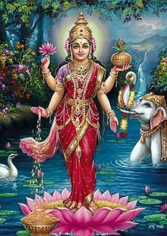Hindu Goddess of Wealth Lakshmi Devi Image Shiva Hindu, Shiva Shakti, Hindu Deities, Hindu Art, Lakshmi Photos, Lakshmi Images, Orisha, Saraswati Goddess, Indian Goddess