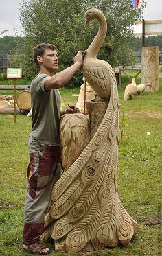Экстерьер и дача ручной работы. Ярмарка Мастеров - ручная работа. Купить Парковая деревянная скульптура. Handmade. Скульптура, птица, павлин