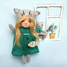 kitty doll, hand made doll,grey kat, kitty girl, doll for gift,#gift, #OOAK,#artdoll