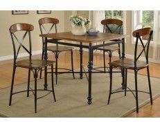 5 Piece Traditional Oak Dining Set - Sam Levitz Furniture