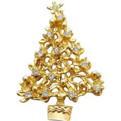 Christmas Tree Pin Crystal Rhinestones Sparkle in Gold Metal