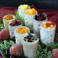 """No Cook Refrigerator Oats are a healthy and delicious way to """"Grab and Go"""" into your morning, or take them to work for lunch or a snack. You can make up a batch and they keep well in the fridge for 3-5 days. Use fresh or frozen fruit, your choice. We use small mason jars …"""