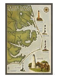 Lighthouse and Town Map - Outer Banks, North Carolina Posters van Lantern Press bij AllPosters.nl