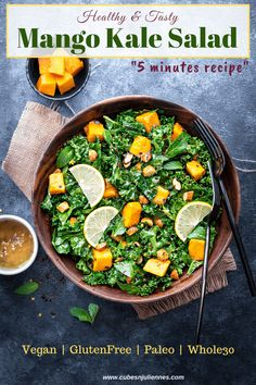 This delicious 5 minutes mango kale salad recipe is so good to resist. Massaged kale tossed with mangoes and almonds in lemon dressing makes a perfect side dish to meal or as a snack. A perfect vegan, gluten-free, paleo and Whole30 dish to snack on. Gluten Free Recipes For Dinner, Best Dinner Recipes, Lunch Recipes, Indian Food Recipes, Breakfast Recipes, Vegetarian Recipes, Healthy Recipes, Ethnic Recipes, Healthy Food