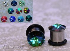 Swarovski crystal stainless steel plugs / tunnels for gauges / stretched ears Sizes 0g (8mm) and 00g (10 mm) on Etsy, $20.50
