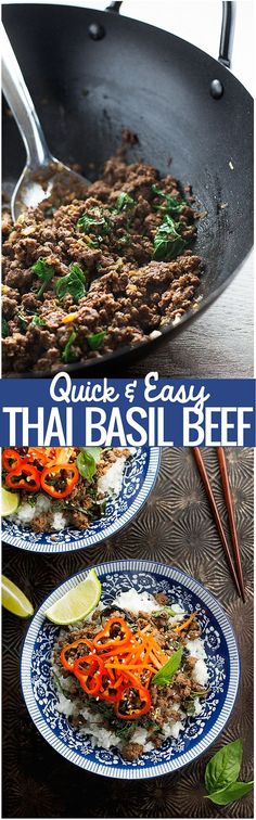 Thai Basil Beef - Quick and easy to make and ready in just 20 minutes. It'll be a hit with adults and kids alike! #thaifood