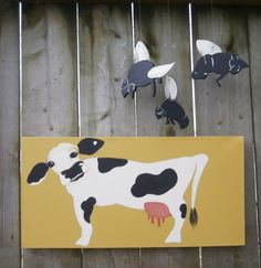 Cow Wall Art with Fly Pendants/Mobiles by hilarycassady on Etsy, $80.00