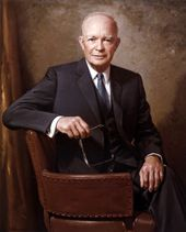 DWIGHT D. EISENHOWER PRESIDENTIAL LIBRARY & MUSEUM (Abilene, KS) is made up of five buildings, including his boyhood home, museum, visitors center (a 23-minute film gives an intro to the site), library and Place of Meditation gravesite.