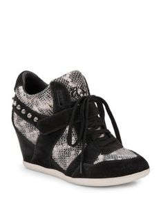ASH Bisou Studded Snakeskin & Suede Wedge Sneakers. #ash #shoes #sneakers