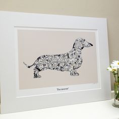 Dachshund Art Print, via Folksy (British) 45 pounds