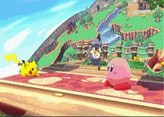 Kirby: I dare you to touch me Pickachu: walking up to Kirby Kirby: *Turns into a pounder whatever XD* Pickachu: 🎶oh heck no🎶 Video Game Memes, Video Games Funny, Funny Games, Super Smash Bros Brawl, Super Mario Bros, Pokemon, Pikachu, Battlefield 3, Games