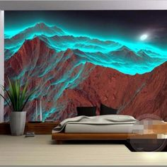 Beibehang Custom wallpaper wallpaper 3D mountain night light green mountain 3D personalized photo wallpaper for walls 3 d home office décor >>> AliExpress Affiliate's Pin. Continue to the product at the image link.