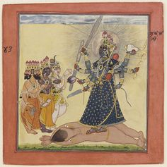 """terms are in use for Asian religions and pan-Asian philosophies, including 166 for Hinduism. Check out this artwork """"Goddess Bhadrakali Worshipped by the Gods"""" from a tantric Devi series and search more at open. Durga Kali, Durga Goddess, Kali Mantra, Indiana, Freer Gallery, Google Art Project, Vedic Mantras, Hindu Mantras, Indian Paintings"""