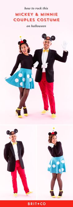 Save this DIY couples costume tutorial to dress up as Mickey + Minnie for Halloween.