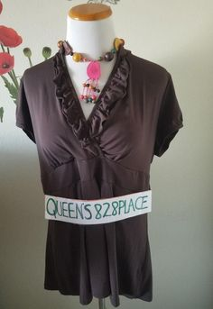 54626daa108b63 Cato Womens Size XL Brown Stretch Ruffled V neck Top Shirt Short Sleeve  Blouse  Cato