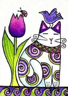 Garden Cat and Bird Art Print in Purples/ Whimsical Decor by Susan Faye Purple Art, Cat Painting, Art Prints, Whimsical Cats, Animal Art, Bird Art Print, Whimsical Art Prints, Art, Cat Drawing