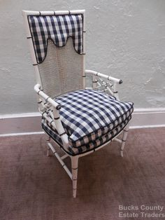 Vintage Hollywood Regency Faux Bamboo Painted Arm Chair