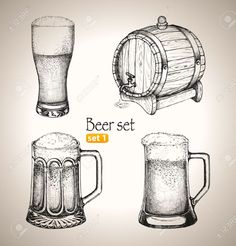 Illustration of Beer set Sketch elements for oktoberfest festival Hand-drawn vector illustration Set 1 vector art, clipart and stock vectors. Beer Images, Clipart, Brewery, Illustrations, How To Draw Hands, Hand Drawn, Chalkboard Ideas, Jack Daniels, Calla Lilies